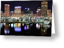 Harbor Nights In Baltimore Greeting Card