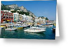 Harbor Of Isle Of Capri Greeting Card by Jon Berghoff