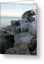 Harbor Rocks In Ice Greeting Card by Kathy DesJardins