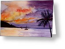 Harbor Sunset Kauai Hawaii Greeting Card