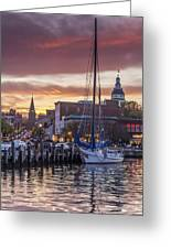 Harbor Sunset Greeting Card