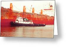 Harbor Tugboat Greeting Card by Fred Jinkins