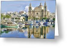 Harborside Msida Malta Greeting Card