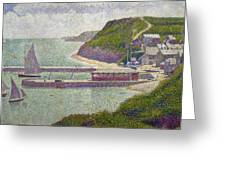 Harbour At Port En Bessin At High Tide Greeting Card by Georges Pierre Seurat