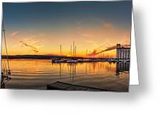 Harbour At Sunset Greeting Card