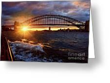 Harbour Bridge Sunset By Kaye Menner Greeting Card