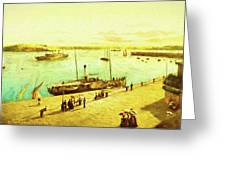 Harbour Parasols Greeting Card by Sarah Vernon