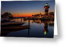 Harbour Town Lighthouse Sunset Greeting Card