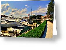 Harbour Town Marina Sea Pines Resort Hilton Head Sc Greeting Card by Lisa Wooten
