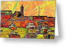 Harbour View Porthleven Cornwall Greeting Card