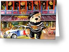 Hard Rock Cafe Teddy Bear From Paris Greeting Card
