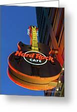 Hard Rock Guitar Detroit Greeting Card