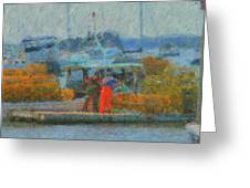 Hard Work At Lobster Dock Boothbay Harbor Maine Greeting Card