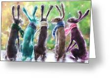 Hares With Scarves Greeting Card
