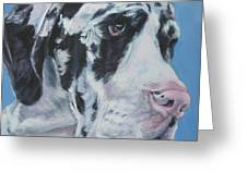 harlequin Great Dane Greeting Card by Lee Ann Shepard