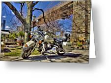 Harley Davidson And Brooklyn Bridge Greeting Card