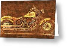 Harley Davidson Classic Bike, Original Golden Art Print For Man Cave Greeting Card