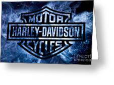 Harley Davidson Logo Blue Greeting Card
