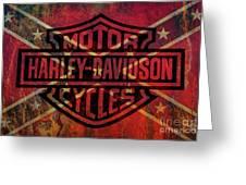 Harley Davidson Logo Confederate Flag Greeting Card