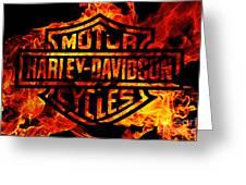 Harley Davidson Logo Flames Greeting Card