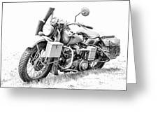 Harley Davidson Military Motorcycle Bw Greeting Card