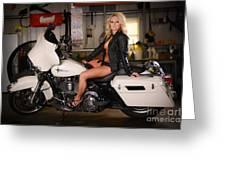 Harley Davidson Motorcycle Babe Greeting Card