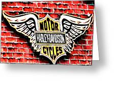 Harley Davidson Wings Greeting Card