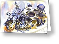 Motorcycle In Watercolor Greeting Card