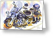 Motorcycle In Watercolor Greeting Card