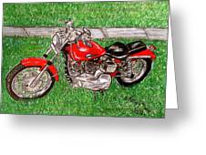 Harley Red Sportster Motorcycle Greeting Card
