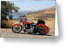Harley With Columbia River And Mt Hood Greeting Card
