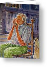 Harmonica Player And A Howler Greeting Card