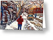 Winter Walk After The Snowfall Best Montreal Street Scenes Paintings Canadian Artist Paysage Quebec Greeting Card