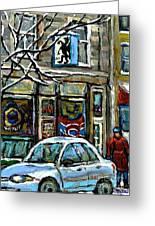 Achetez Les Meilleurs Scenes De Rue Montreal St Henri Cafe Original Montreal Street Scene Paintings Greeting Card