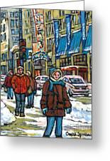 Achetez Les Meilleurs Scenes De Rue Montreal Best Original Art For Sale Montreal Streets Paintings Greeting Card