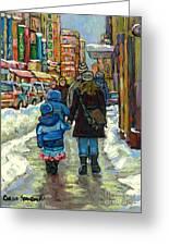 Exceptional Canadian Artist Winter Scene Paintings Downtown Montreal Achetez Scenes De Quebec  Greeting Card