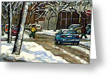 Canadian Artist Winter Scenes Original Paintings Quebec Streets Achetez  Montreal Art Online Greeting Card