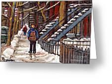 Canadian Art Winter Streets Original Paintings Verdun Montreal Quebec Scenes Achetez Les Meilleurs Greeting Card