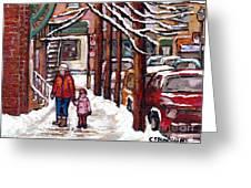 Canadian Winter Scene Paintings Original Art Verdun Montreal Achetez Scenes De Rue Quebec C Spandau  Greeting Card