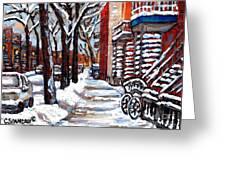 Canadian Winter Scene Paintings Original Art Verdun Montreal Achetez  Paysages De Quebec C Spandau Greeting Card