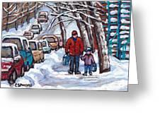 Paysages De Verdun Quebec A Vendre Original Verdun Montreal Winter Staircase Street Scene Paintings  Greeting Card