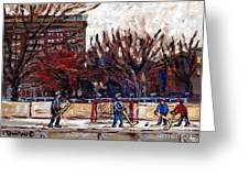Paysages De Quebec Petits Formats A Vendre Hockey Rink Paintings Psc Original Montreal Street Scenes Greeting Card