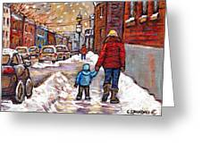 Original Montreal Street Scene Paintings For Sale Winter Walk After The Snowfall Best Canadian Art Greeting Card
