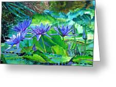 Harmony Of Purple And Green Greeting Card