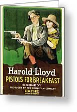 Harold Lloyd In Pistols For Breakfast 1919 Greeting Card