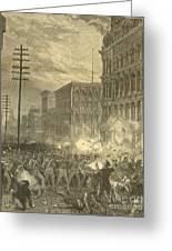 Harpers Sixth Regiment Fighting Railroad Strikers Greeting Card