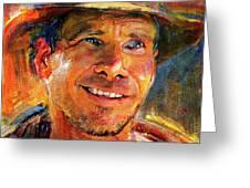 Harrison Ford Indiana Jones Portrait 3 Greeting Card