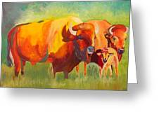 Hartsel Bison Family In Springtime Greeting Card