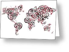 Harvard University Colors Swirl Map Of The World Atlas Greeting Card