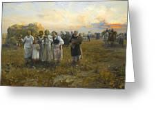 Harvest Festival By Alfred Wierusz-kowalski 1849-1915 Greeting Card